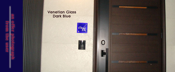 ヴェネチアンガラス表札ダークブルー設置