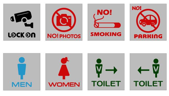 防犯カメラ 禁煙 トイレマークのピクトサイン